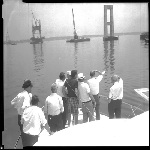 Governor Chafee inspects the building of the Newport Bridge
